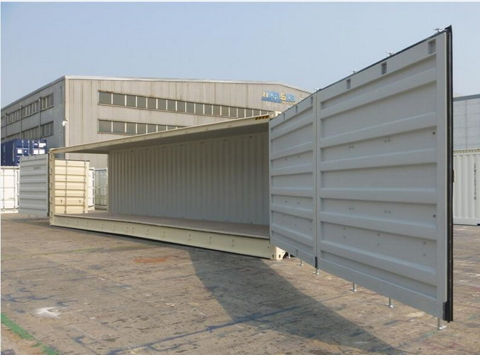 One Side Fully Opened 40 Ft Side Door Container , Open Sea Container Storage