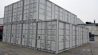 China 40ft Cargo Shipping Container High Cube Side Opening With 4 Double Swing Doors One Side supplier